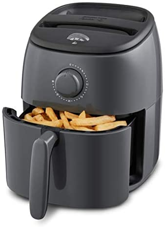 Dash DCAF200GBGY02 Tasti Crisp Electric Air Fryer Oven Cooker with Temperature Control, Non-stick Fry Basket, Recipe Guide + Auto Shut Off Feature, 1000-Watt, 2.6Qt, Grey