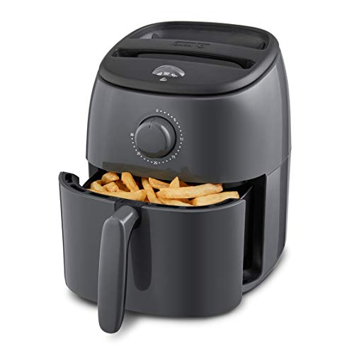 Dash DCAF200GBGY02 Tasti Crisp Electric Air Fryer + Oven Cooker with Temperature Control, Non Stick Fry Basket, Recipe Guide + Auto Shut Off Feature, 2.6Qt, Grey