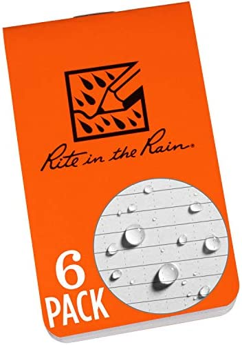 Rite in the Rain Weatherproof On The Go Wallet Notebook 2 x 3 375 Orange Cover Blank Pages 6 product image