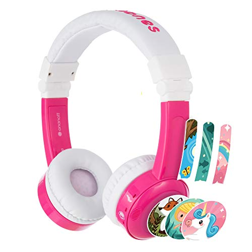 BuddyPhones Inflight, Volume-Limiting Kids Headphones, 3 Volume Settings, Detachable BuddyCable, Microphone, Airline Adapter, Perfect for Airplanes, Trains and Cars