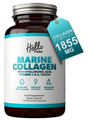 Complesso integratore di collagene marino ultra potente da 1865 mg con acido ialuronico e vitamine C + E – Capsule di collagene idrolizzato (non compresse) –...