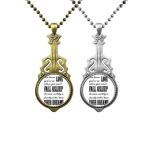 Halskettenanhänger mit englischem Musik-Gitarren-Zitat
