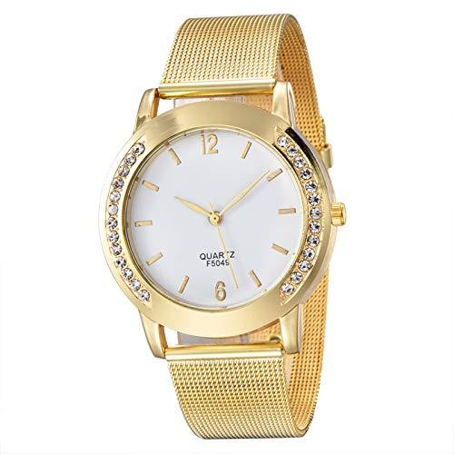 DSDBD Diseño Simple De Las Mujeres Rhinestone De La Joyería De Plata De Oro De La Aleación Correa De Reloj De Lujo Señora Pulsera Reloj De Pulsera De Cuarzo (Color : Gold)