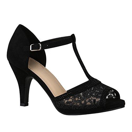 stiefelparadies Riemchensandaletten Damen Schuhe Spitze Sandaletten Strass Stilettos 150457 Schwarz Spitze Strass 37 Flandell