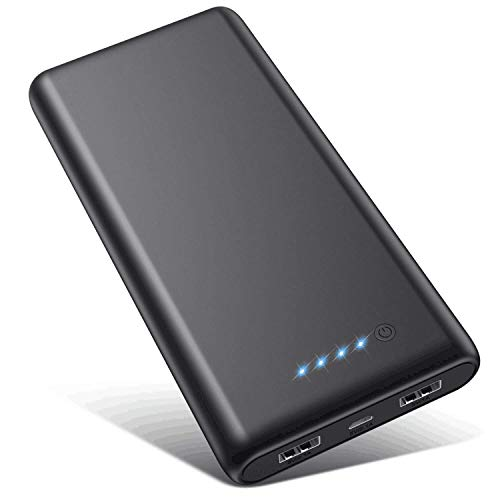 VOOE Power Bank 26800mAh【Hohe Effizienz- Ultrahohe Kapazität】 Externer Akku Power Pack Ladegerät Akkupack 3.1A 2-Port Ausgang Powerbank für Handy Tablet - Schwarz