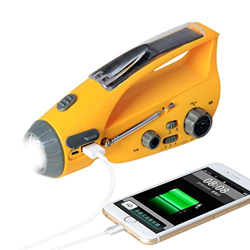 Emergency Weather Radio with Hand Crank and AM FM Weather Stations,Rechargeable LED Flashlight with Solar Battery Powered USB Phone Charger and SOS Alarm