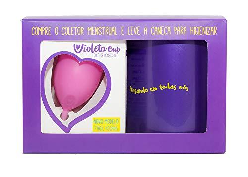 Kit Coletor Menstrual Violeta Cup Tipo A Rosa + Caneca Higienizadora, Violeta Cup, Rosa, Tipo A Mulheres A Partir De 30 Anos Ou Com Filhos, E/Ou Com Colo Do Útero De Altura Média E Alta