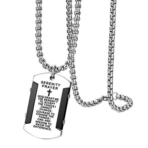 Flongo Collar de Placa Militar Colgante de Hombre, Collar de Cruz y...