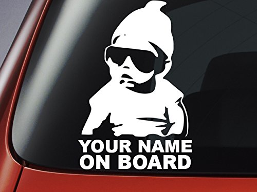 Niveau 33 Baby On Board Sticker- Gepersonaliseerd met elke naam - Auto Sticker, Window Sticker, Vinyl Baby On Board Sticker 200mm x 130mm approx Blauw