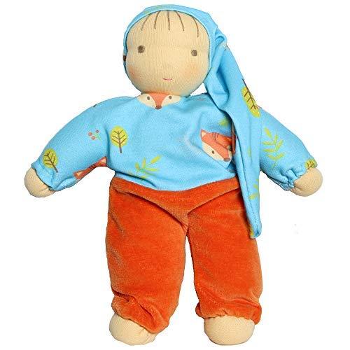 Walkiddy Waldorfpuppe Stoffpuppe Organic Bio Puppe Natur 25 cm Dreamy Fox (Orange) mit Schurwolle