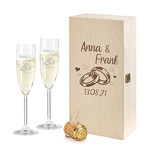 2 Leonardo Sektgläser mit Geschenkbox und Gravur Ringe Hochzeit Geschenkidee Sektglas-Set graviert