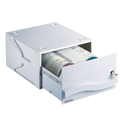 Esselte 67228 CD Aufbewahrungsbox CD-Schublade Storage Drawer für 120 CDs/DVDs, hellgrau