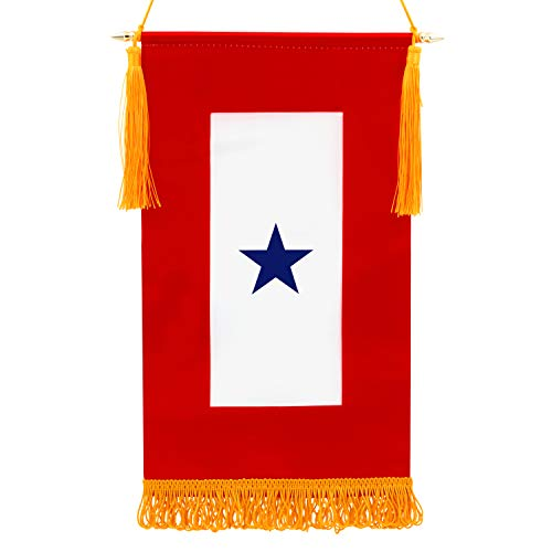 Anley Military Service Banner - USA Family Member On Service One Blue Star - 15' X 8' Fringed Flag & Wooden Flagpole & Golden Hanging Cord with Tassels - Vivid Color & Fade Resistant