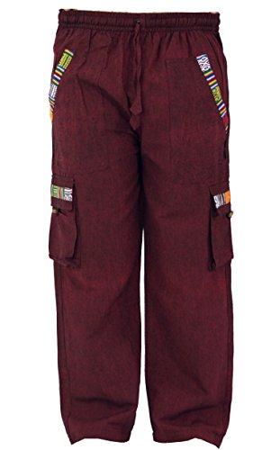 GURU SHOP, Pantaloni da Yoga, Pantaloni Goa in Etnostile, Vino, Cotone, Dimensione Indumenti:M (48), Pantaloni