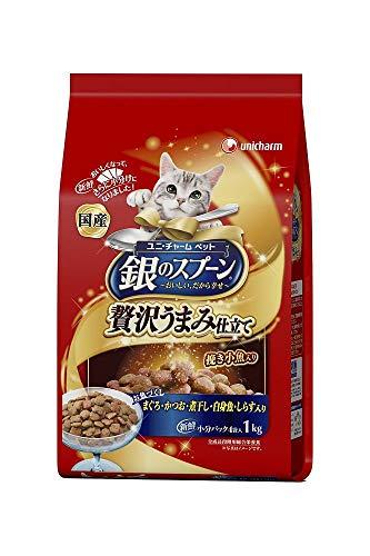 (まとめ買い)ユニ・チャーム 銀のスプーン 贅沢うまみ仕立て お魚づくし 1.0kg 猫用 【×4】