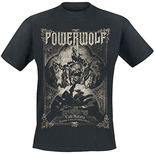 Powerwolf Vada Satana Hombre Camiseta Negro M, 100% algodón, Regular