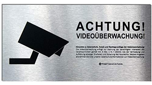 DSGVO+BDSG Datenschutz-Schild ALU Info-Aushang Video-Überwachung 10x20cm Aluminium gebürstet