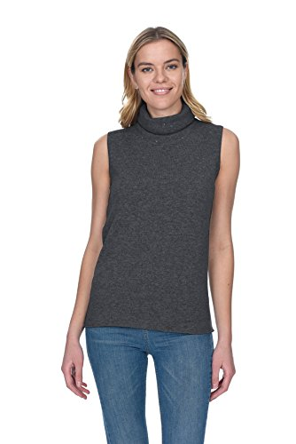 State Cashmere Women's Turtleneck Sleeveless Tunic 100% Pure Cashmere Sequined Roll Neck Fashion Sweater Top (X-Large, Charcoal)