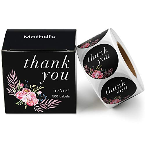 Methdic Thank You Stickers Labels Roll for Business Favors Birthday Gift Bags Baby Shower Wedding 500 Labels 1 Roll 1.5'' Waterproof (Thankyou-C)