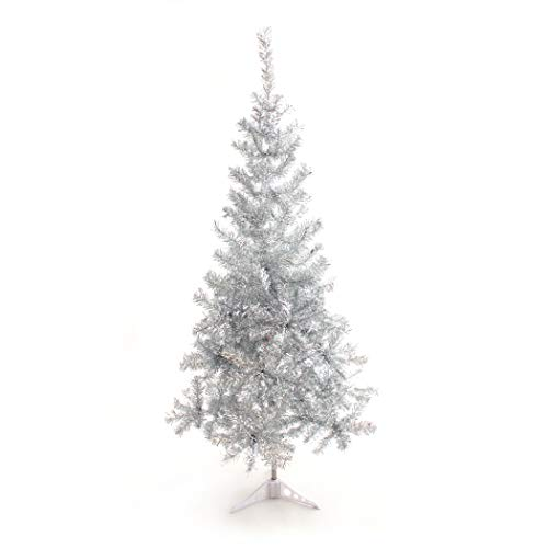 Perfect Holiday Silver Tinsel 5 ft PVC Christmas Tree, 5'