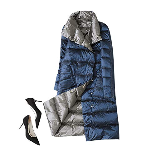 ELUP Women's Winter Down Jacket Coat, Thin and Thin Mid-Length Knee-Length Down Jacket Silver