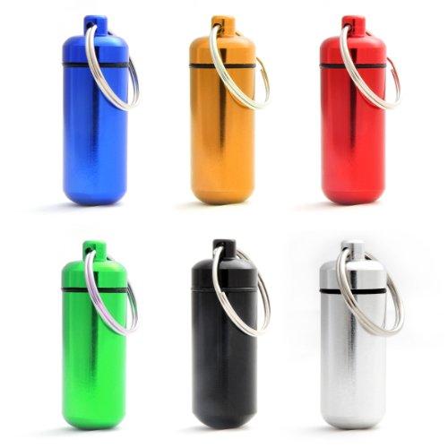 Capsule étanche pour conserver des petits objets (billets, clés usb), pilulier, capsule en porte-clé avec un capuchon dévissable et un joint en caoutchouc, hauteur: 45mm, matériau: aluminium, couleurs: noir, argent, rouge, bleu, jaune et vert, de la marque Ganzoo – lot de 6 capsules