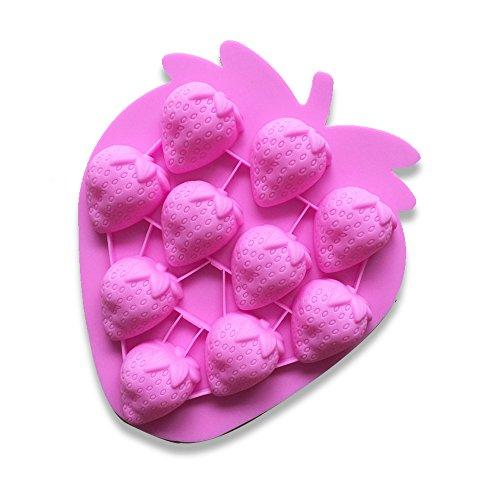 Ndier Stampo in Silicone Set di 10 Cività Stampi Muffin 3D Fragola per Dolci, Cottura, Mini Torta, Cupcake, Cioccolato, Ghiaccio, ecc
