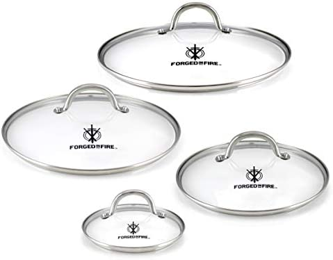 HISTORY Forged in Fire Tempered Glass Lid Set With Stainless Steel Trim Protective Thermal Technology product image