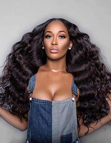 Persephone 180% Density 360 Lace Frontal Wig Pre Plucked with Baby Hair Brazilian Remy Deep Body Wave 360 Lace Human Hair Wigs for Black Women Natural Color 20 Inch