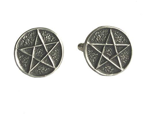 Manschettenknöpfe Pentagramm, handgefertigt in England aus feinem englischen Zinn.