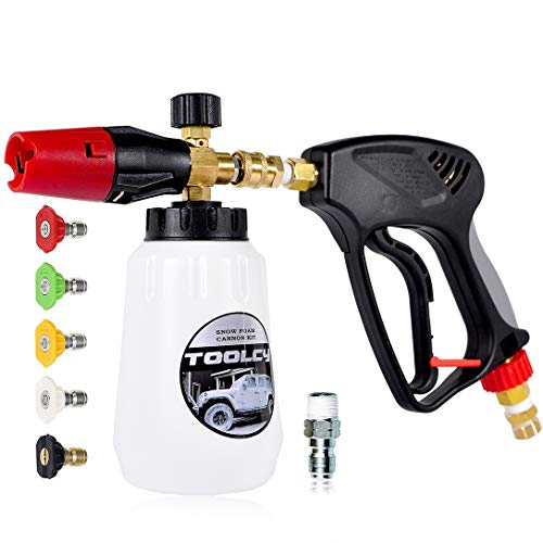 TOOLCY Foam Cannon Kit with Pressure Washer Gun 5000 PSI, 5 Pressure Washer Nozzle Tips, 1/4' Quick Connector, Professional Grade, Quick Release