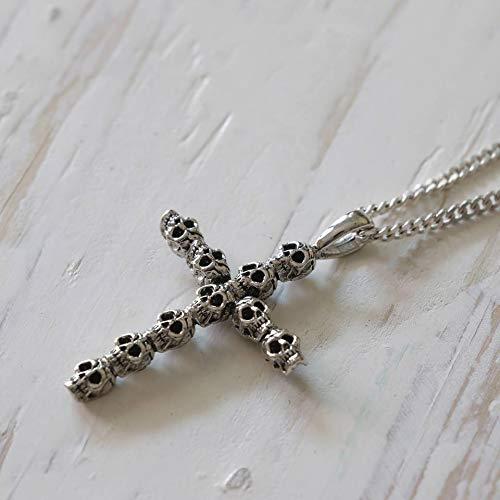 small skull Leviathan Cross Pendant Necklace Satan silver sterling biker men