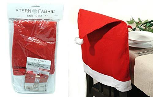4er Set Stuhlhussen für Weihnachten Weihnachtsmann Mütze Deko Stuhlbezug Nikolaus Weihnachtsdeko