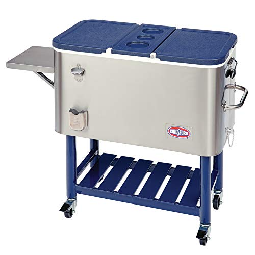 Kingsford 100SS 100-Quart Stainless Rolling Party Wheeled Cooler, Steel and Dark Blue