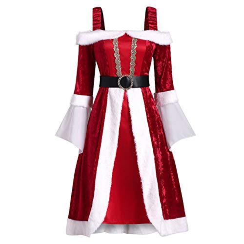 BOLANQ Damen Weihnachtsrotes trägerloses reizvolles langes Rock-Vlies-langes Hülsen Kleid Gurt dünnes Kleid(XX-Large,Rot)