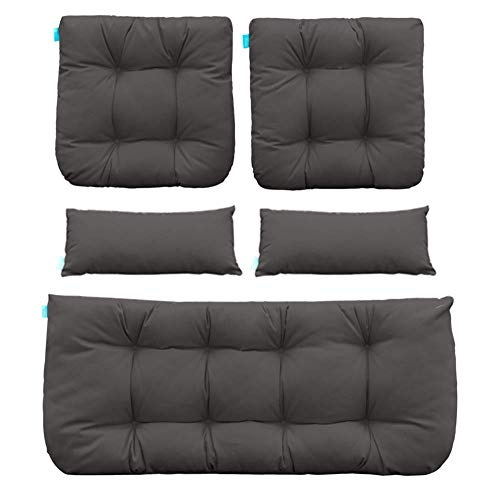 QILLOWAY Outdoor Patio Wicker Seat Cushions Group Loveseat/Two U-Shape/Two Lumbar Pillows for Patio Furniture,Wicker Loveseat,Bench,Porch,All Weather, Settee of 5 (Dark Grey)