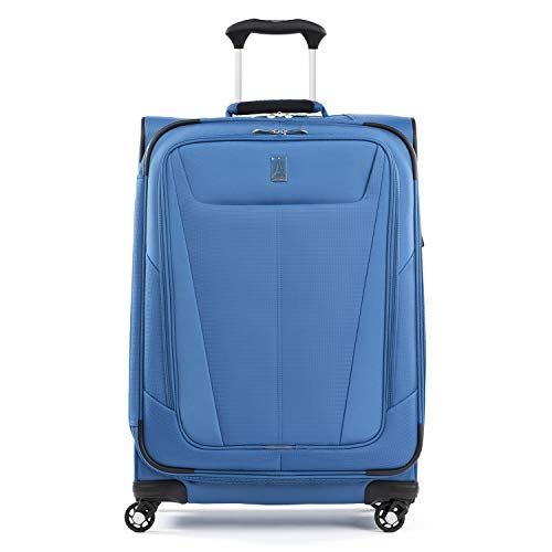 Travelpro Maxlite 5-Softside Expandable Spinner Wheel Luggage, Azure Blue, Checked-Medium 25-Inch