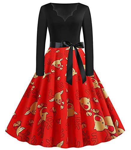 JIER Weihnachtskleid Damen Druchen Swing Festlich Kleid Elegant Abendkleid Vintage Weihnachten Party Kleid Brautkleid Retro Cocktailkleid Rockabilly Minikleid Kleidung (Mehrfarbig 4,XX-Large)