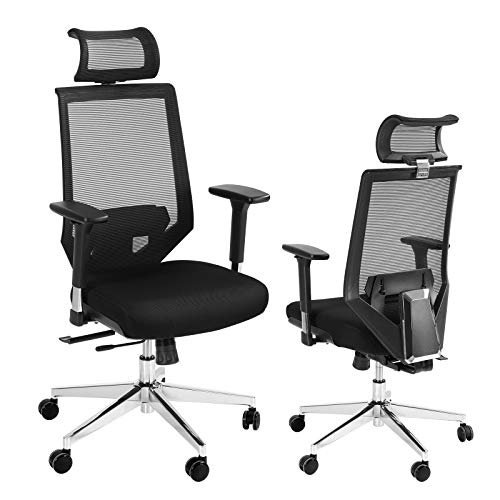 SCOZER Office Chairs, Ergonomic Breathable Mesh Computer Chair with 3D Adjustable Armrest, Adjustable Lumbar Support and Headrest, Reclining Rocking High Back Task Chair with Backrest Lifting Black
