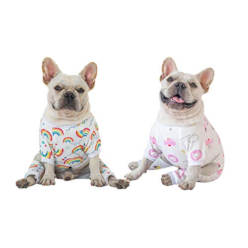 CuteBone Cotton Dog Pajamas Cute for Small Dogs Clothes xs, Rainbow&Clouds, 2 Pack, 2CP04M