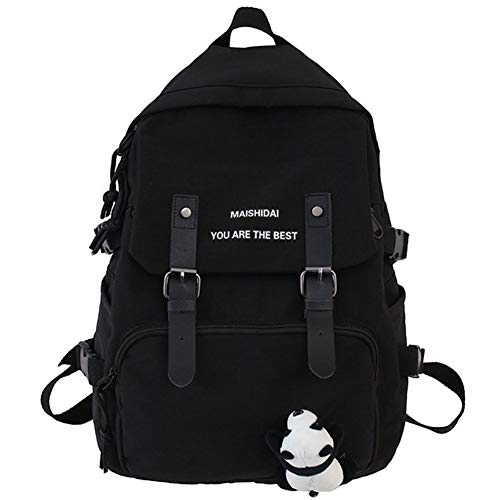 CMYZM Travel Women Book Backpack Waterproof Nylon Cute School Bag Girl Kawaii Student Backpack Laptop Female Fashion Bag Ladies Trendy (Color : Black, Size : No Panda Pendant)