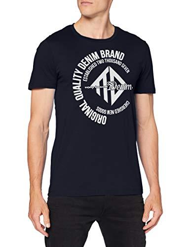 TOM TAILOR Denim Herren Coinprint T-Shirt, 10668-Sky Captain Blue, S