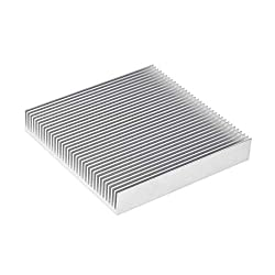 uxcell Parallel Line Notch Heatsink for LED and Power Silver 90 x 90 x 15 mm