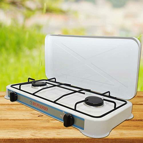 REPLOOD Hornillo de gas GLP 2 fuegos blanco Hornillo de camping cocina portátil 58 x 27 cm