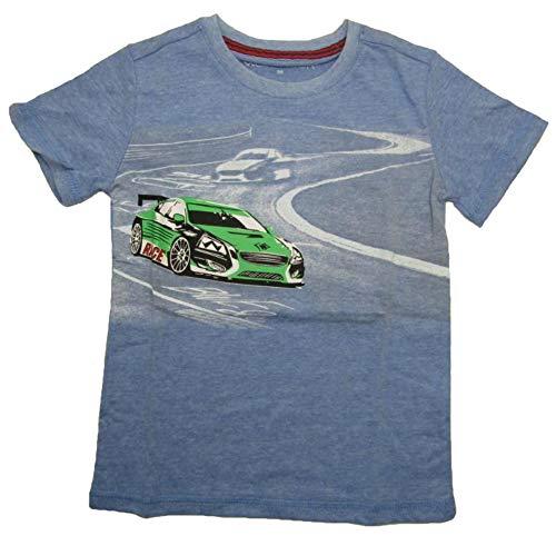 Generisch Jungen T-Shirt mit Sportwagen Motiv Kinder Kurzarm Shirt Auto (blau, 128)