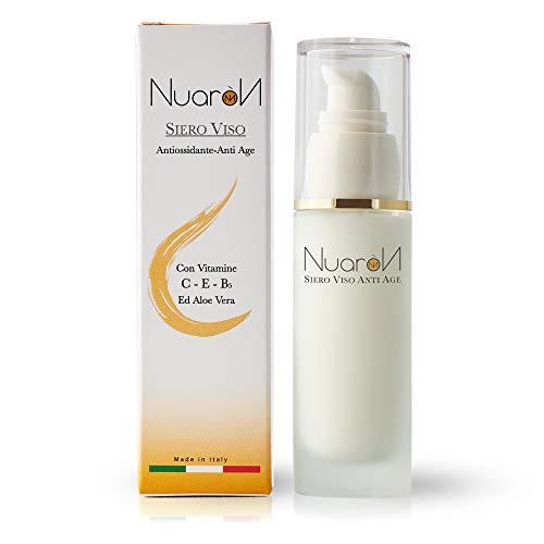 Nuaron Sérum Facial Antiarrugas Vitaminas Antioxidantes C/E / B5 Aloe Vera Hidratante Aligeramiento Elástico Exfoliante 100% Made in Italy 30 ml Para Todo Tipo de Piel
