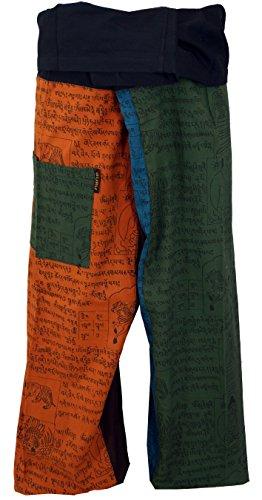 Thai Fischerhose aus fester Baumwolle, Patchwork Wickelhose, Yogahose, Unigröße - orange/bunt / Fischerhosen & Wickelhosen