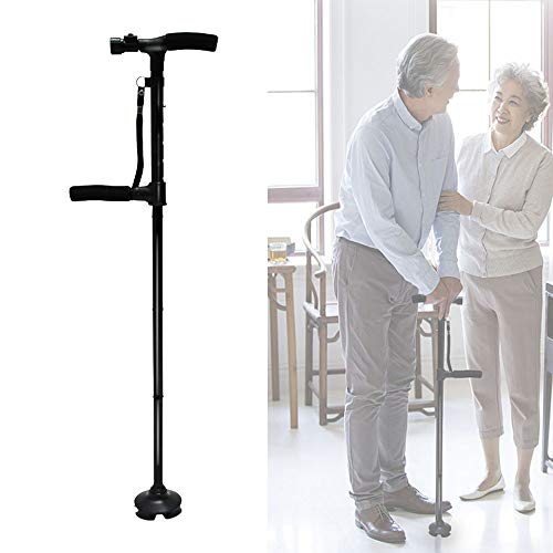 JIN GUI Bastón Plegable de Cinco etapas, Bastones de Ayuda de Movilidad de aleación de Aluminio Fuerte y Resistente con Base cuádruple pivotante de luz LED, para Personas Mayores con discapacidad