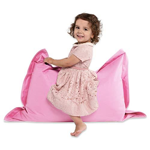 Green Bean © BeBi Mini Sitzsack 100x70 cm - 70 Liter EPS Perlen Füllung - PVC Bezug - Indoor & Outdoor Beanbag für Kinder - Sitzkissen Bean Bag Bodenkissen - Kindersitzsack Stuhl - Rosa