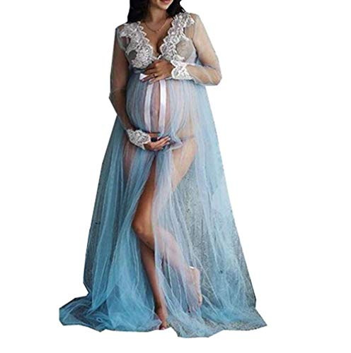 Wide.ling Umstandskleid Fotoshooting Mesh Spitze Festlich Lange Maxi Schwangerschaftskleider Maternity Gown Split Front Fotografie Stützen Kleid (Blau)